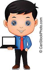 tenue, ordinateur portable, homme affaires