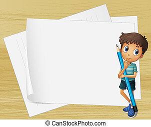 tenue, papiers, à côté de, vide, crayon, gosse