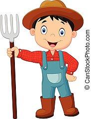 tenue, paysan, jeune, dessin animé, râteau
