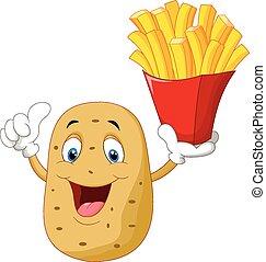 tenue, pomme terre, frenc, mignon, dessin animé
