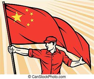 tenue, porcelaine, ouvrier, drapeau