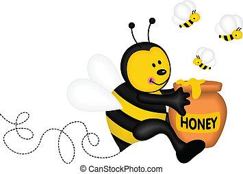 tenue, pot, abeille miel