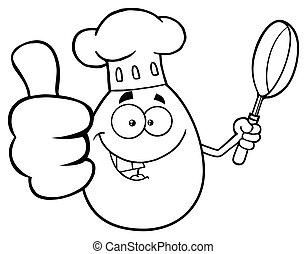 tenue, projection, caractère, haut, illustration, isolé, chef cuistot, vecteur, noir, pouces, fond, friture, oeuf blanc, dessin animé, moule, mascotte