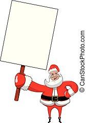 tenue, projection, claus, isolé, signe, santa, vide, panneau affichage, blanc, dessin animé