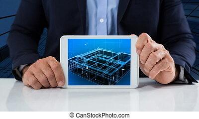 tenue, projection, vidéo, homme affaires, tablette, construction