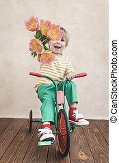 tenue, rigolote, fleurs, bouquet, enfant