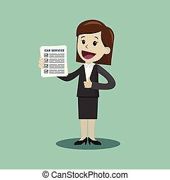 tenue, service, voiture, liste, illustration, chèque, directeur, vecteur, diagnostics., dessin animé