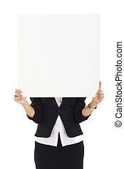 tenue, signe, femme affaires, vide, blanc