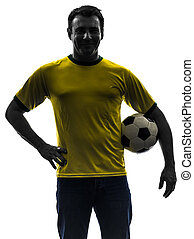 tenue, silhouette, homme, football football