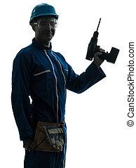 tenue, silhouette, ouvrier construction, homme, foret