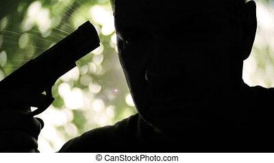 tenue, silhouette, pistolet, sérieux, préparer, lui-même, ...
