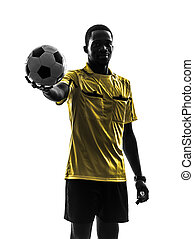 tenue, silhouette, projection, fond, arbitre, homme, blanc, debout, football, une, africaine