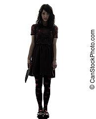 tenue, silhouette, sanglant, tueur, couteau, femme, étrange...