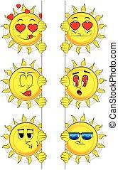 tenue, soleil, signe., collection, expressions., vecteur, divers, facial, vide, dessin animé, set.