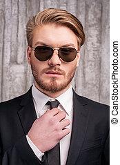 tenue, style., jeune, always, cravate, homme, beau, ajustement, poche, sien, formalwear, main