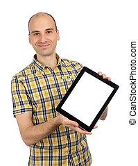 tenue, tablette, isolé, jeune, pc, tampon, fond, toucher, blanc, homme