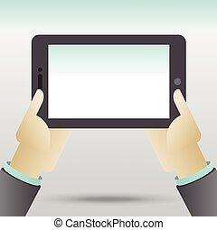 tenue, tablette, mains