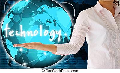 tenue, technologie, dans, sien, main, créatif, concept