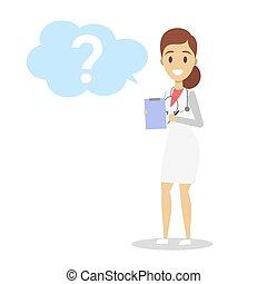 tenue, uniforme, presse-papiers, docteur féminin