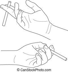 tenue, vecteur, cigarette, illustration, main