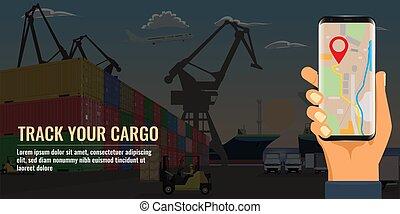 tenue, vecteur, main, dock., projection, mer, plat, smartphone, map., fret, empilé, port, récipients, illustration.