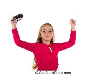 tenue, vendange, haut, isolé, applaudissement, appareil photo, bras, fond, girl, blanc