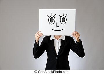 tenue, vide, panneau affichage, à, sourire, figure