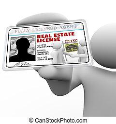 tenue, vrai, carte, identification, licence, laminé, agent, propriété