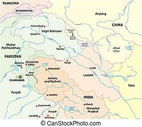 tenure, territorial, carte, kashmir, vecteur