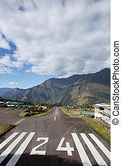 Tenzing-Hillary Airport in Lukla, Himalayas, Nepal.