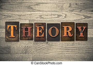 teoría, de madera, texto impreso, concepto