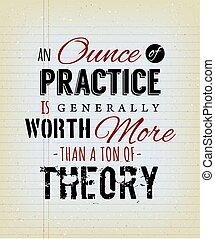 teoría, práctica, generalmente, valor, onza, tonelada, que, más