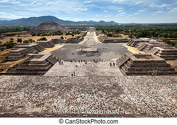 Teotihuacan, Mexico - View of the Avenue of the Dead and the...