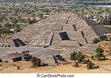 teotihuacan, moon., ピラミッド, メキシコ\