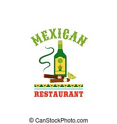 Tequila and cigar mexican restaurant vector icon - Mexican ...
