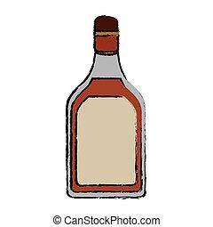 tequila, bevanda, disegno, bottiglia, alcolico