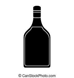 tequila, bevanda, silhouette, bottiglia, alcolico