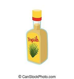 Tequila bottle icon, cartoon style