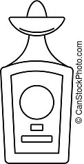 Tequila bottle icon, outline style