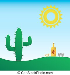 tequila bottle in the mexico with sun and cactus eps10