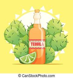 tequila, cactus, bottiglia, calce
