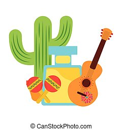 tequila drink cactus maracas and guitar mexican