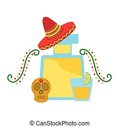 tequila drink hat mexican skull