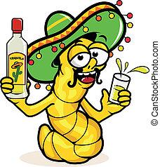 tequila., dronken, tequila, worm, illustratie, vector, fles...