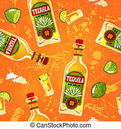 Tequila & Lime. - Seamless background. Vector illustration,...