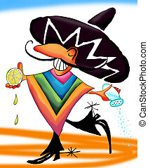 Tequila mexican dance - hand drawn illustration coloured in...