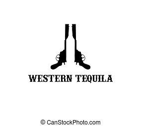 tequila, occidentale, illustrazione