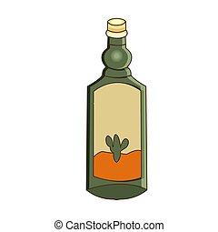 tequila., ovest, theme., illustrazione, cartone animato, vettore, bottiglia, selvatico, style.