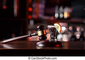 tequila., pojęcie, cytryna, młot, napój, jazda, szkło, nie, driving.judge, alkohol