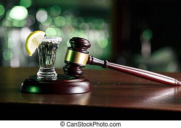 tequila., pojęcie, cytryna, młot, napój, szkło, nie, driving.judge, alkohol